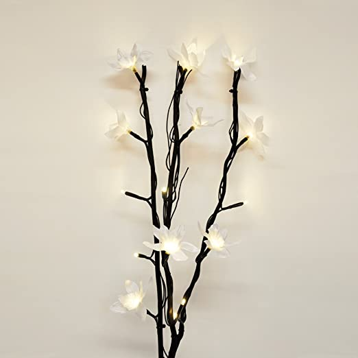 Modern decorative black twig branch lights with beautiful white modern decorative black twig branch lights with beautiful white flowers mightylinksfo