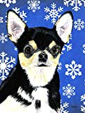 Caroline's Treasures SC9399GF Chihuahua Winter Snowflakes Holiday Flag, Small, Multicolor For Sale