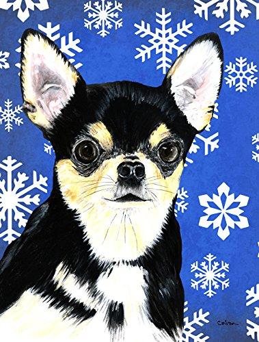 Caroline's Treasures SC9399GF Chihuahua Winter Snowflakes Holiday Flag, Small, Multicolor