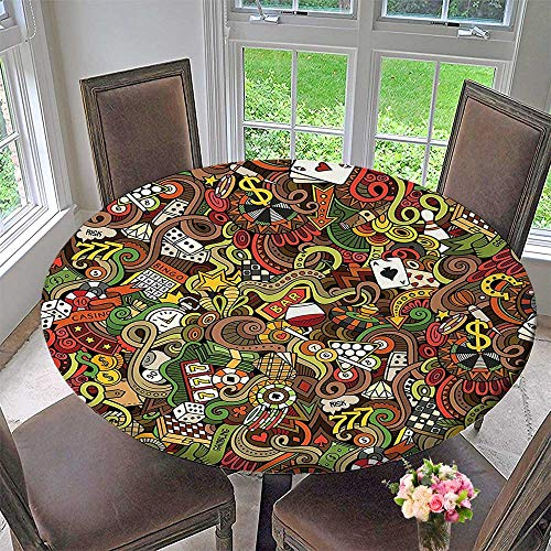 Mikihome The Round Table Cloth Doodles Style Art Bingo Excitement Checkers King Tambourine Vegas for Birthday Party, Graduation Party 35.5''-40'' Round (Elastic Edge) by Mikihome