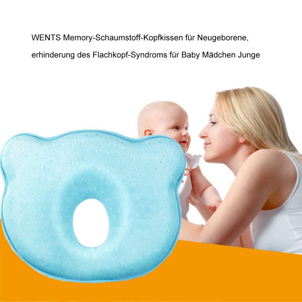 Almohada de bebe-WENTS Almohada Ortop/édica Prevenir//curar la Cabeza Plana in Memory Foam Perfect Head Azul