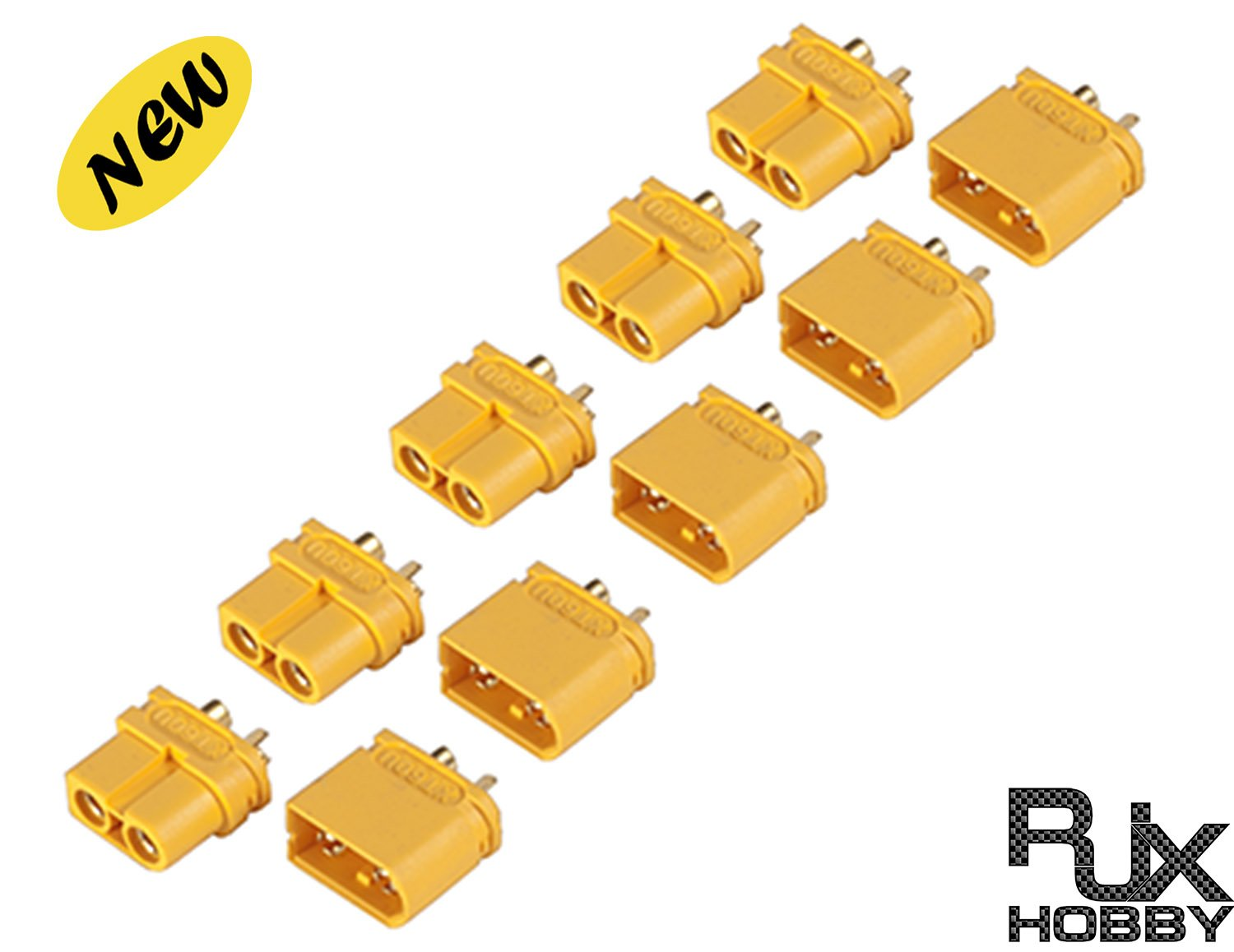 Rjxhobby 5xpairs Xt60u Upgraded Xt60 Smaller Size Male Hoppy Tail Light Converter Wiring Diagram Female Bullet Connectors Plugs For Rc Lipo Battery Toys Games