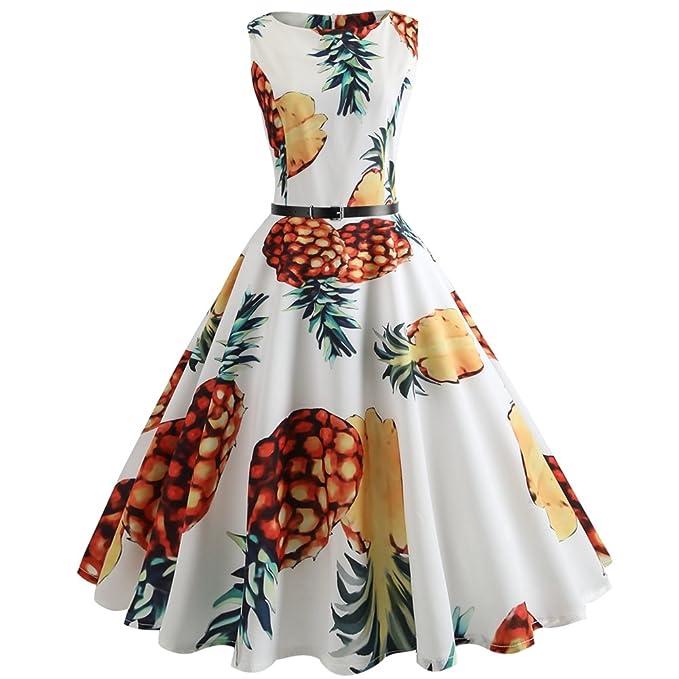 StageOnline Estilo Retro Hepburn cuello redondo sin mangas de color floral que marca la cintura con