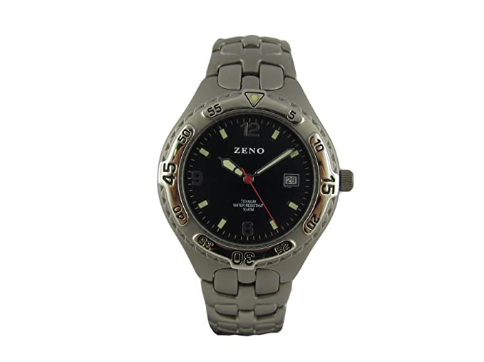 Reloj Zeno, pulsera titanio, luneta ajustable, agujas fosforescentes, reloj negro