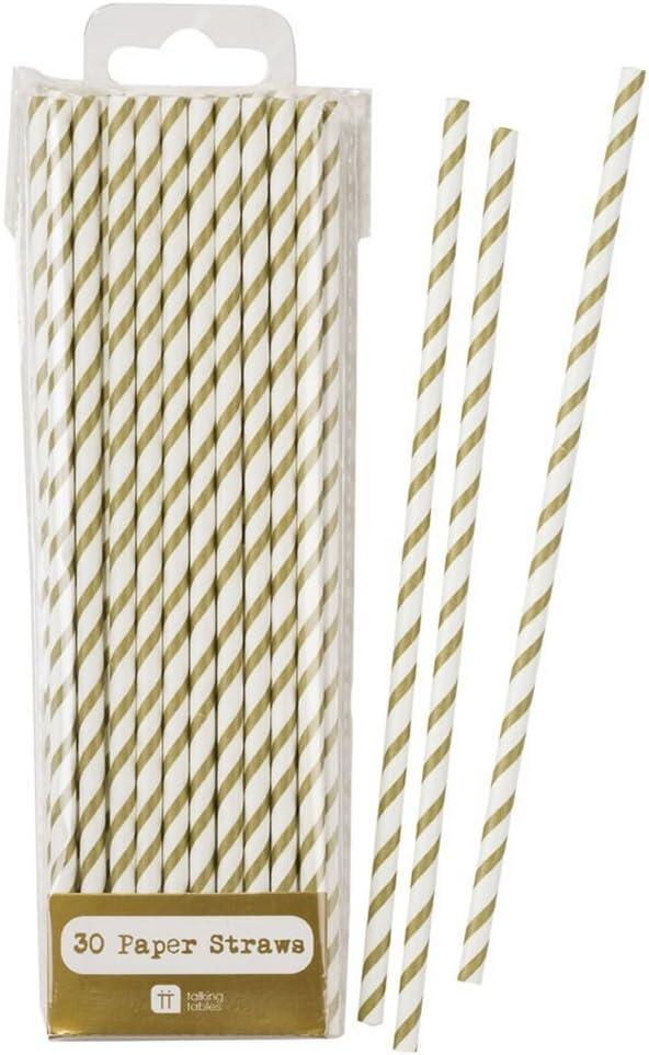 Carry stone 25pcs jetable biod/égradable Papier pailles /à Boire Fournitures de f/ête danniversaire Or Chevron Durable et utile