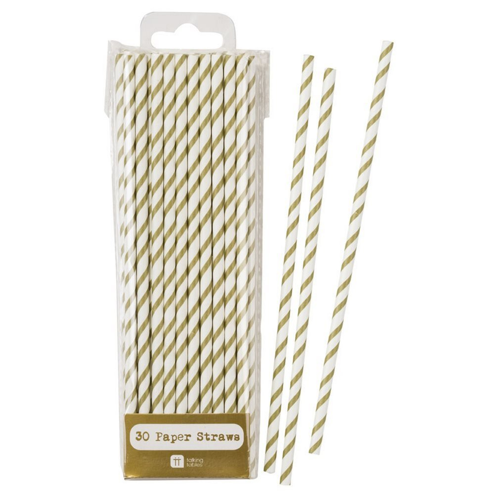 Talking Tables Paper Straws Biodegradable | Gold Straws | Striped Straws | Gold And White Straws | 30 Pack MIX-STRAW-GLD