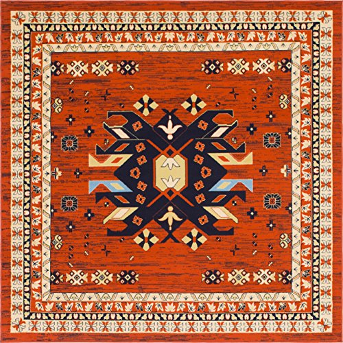 Southwestern Patio Furniture - Unique Loom Taftan Collection Geometric Tribal Terracotta Square Rug (8' x 8')