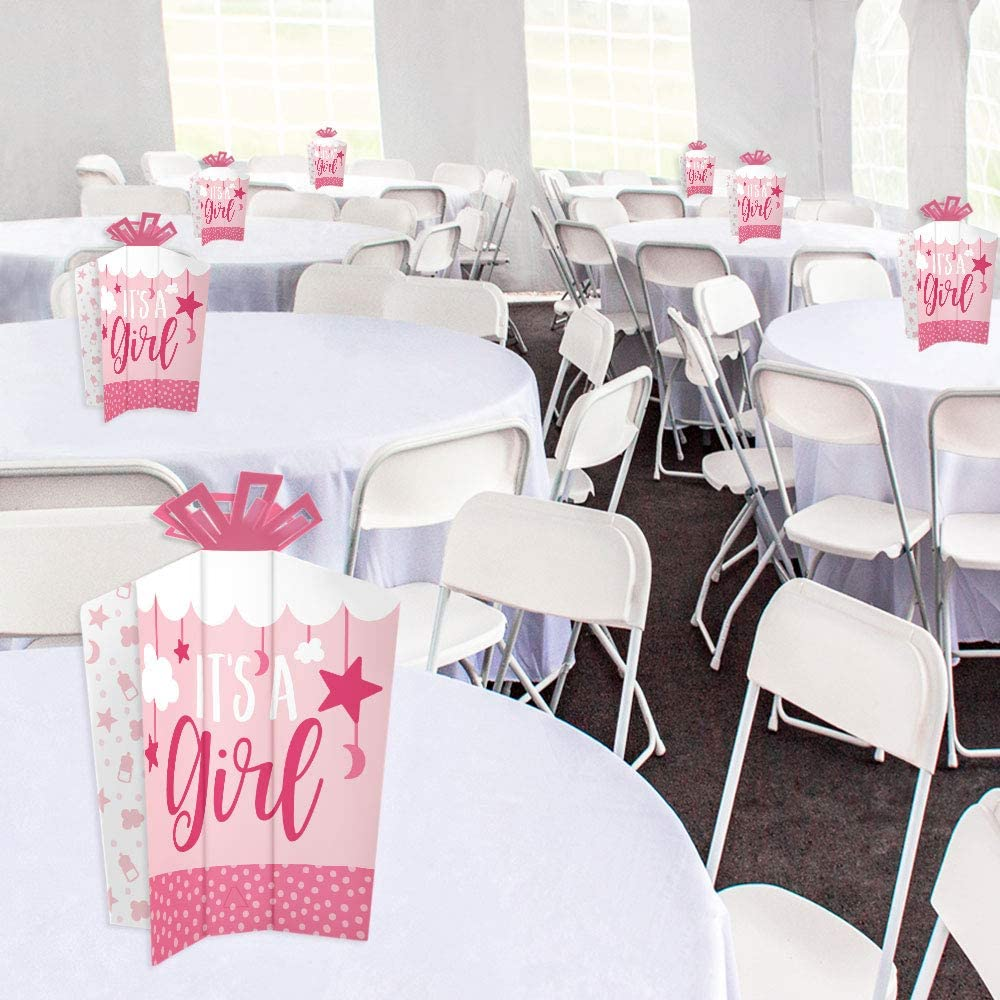 10 Count Table Decorations Big Dot of Happiness It/'s a Girl Pink Baby Shower Fold and Flare Centerpieces