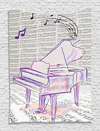 Musician Gifts Piano Grand Decor Music Notes Musical Design Decorations Abstract Art Digital Print Tapestry Wall Hanging Artprints For Living Room Bedroom Dorm Outdoor Beach Throw, Purple White