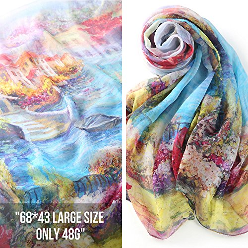 STORY OF SHANGHAI Women's Mulberry Flower Print Soft Large Silk Scarf 68x43 Inches