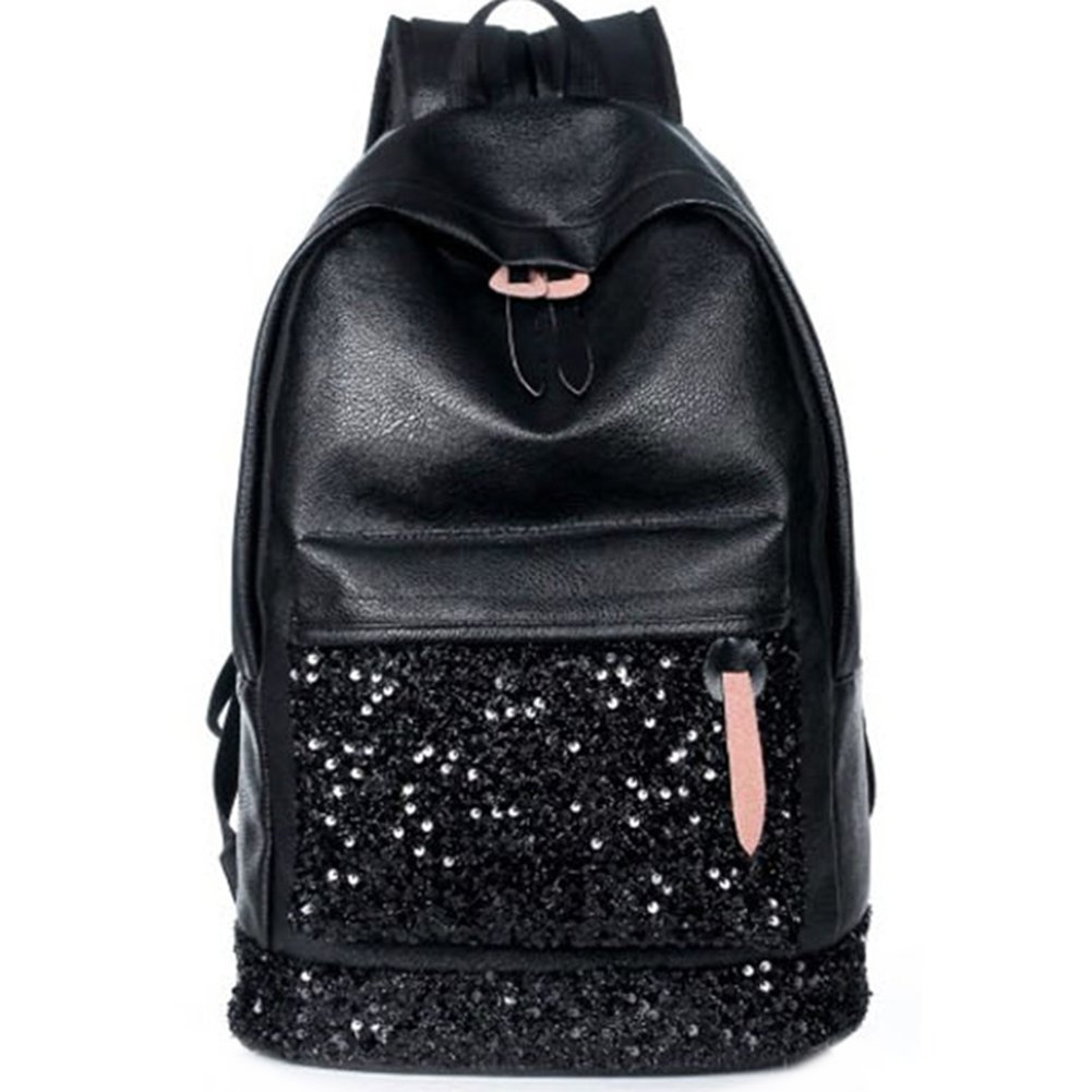ShiningLove Women Fashion Casual PU Backpack Sequined Paillette Shoulders Bag Schoolbag Daypacks Black