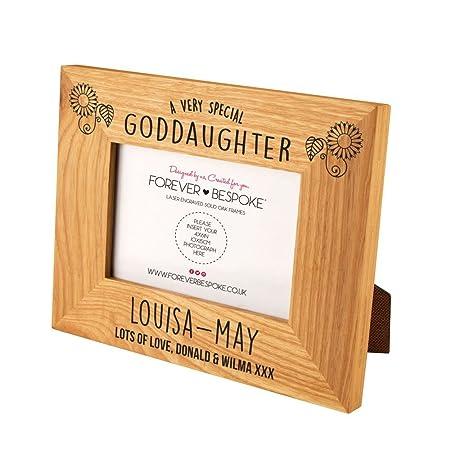 Personalised Engraved Special Goddaughter Oak Photo Frame, Traditional Christening Gifts, Keepsake Godchild Present: Amazon.co.uk: Kitchen & Home