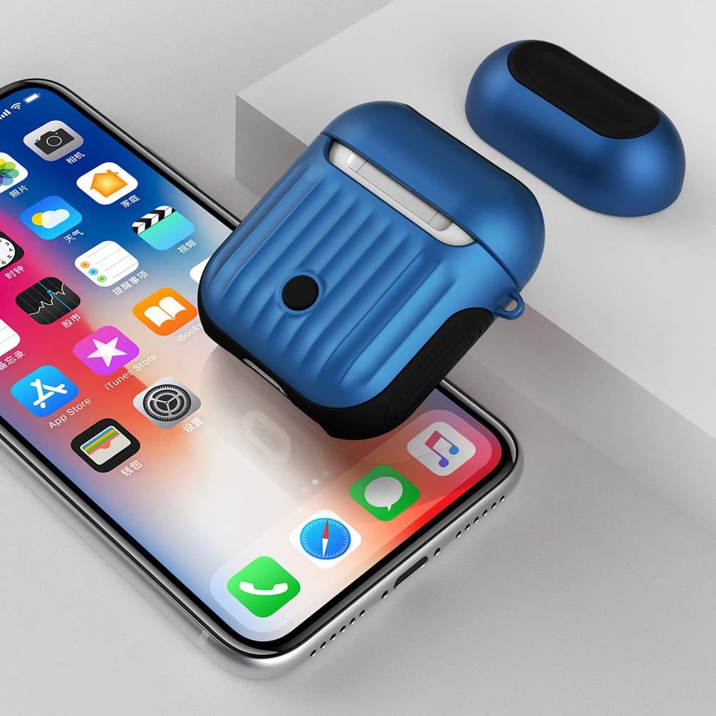 Airpodsケースカバーとスキン - GARSAM Airpod Skins互換Apple AirPods2&1充電ケース、TPU + PCハードカバー 2層 アンチフォール AirPodsアクセサリー用AirPodsケース (ブルー)   B07RDK342H