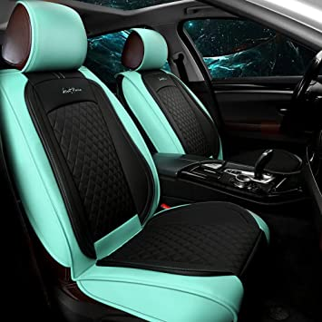 GIANT PANDA Luxury Leather Front Car Seat Covers for Most Cars, SUV, Mini Van and Pickup Teal (1 Pair)