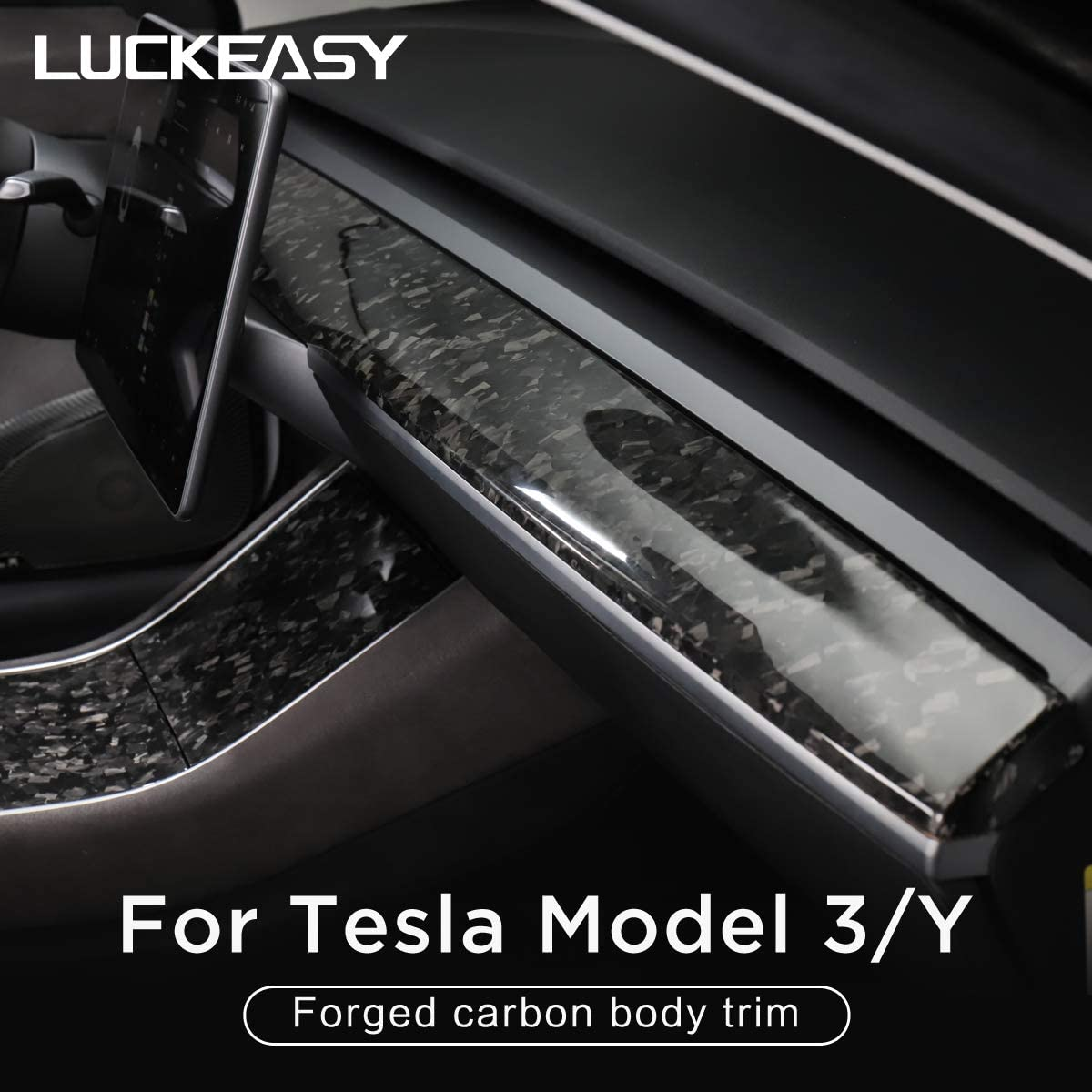 CA M3-CF23L LUCKEASY Car Interior Exterior Accessories For Tesla Model 3 Real Carbon FIber Modification kits