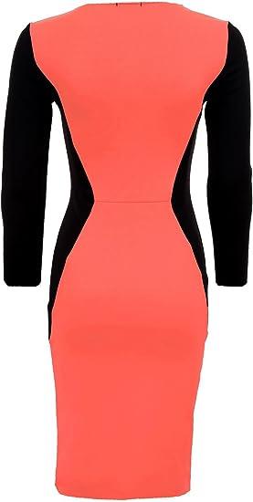 Dla ochrony damski dekoltem w szpic kontrastu magazynie sklepu powierzchnią głÓwnej w części środkowej kolan hautenges impreza sukienka: Odzież