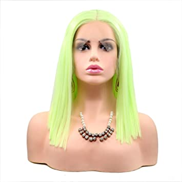 Amazon.com   Short Bob Lace Front Wig for Women Gorgeous Synthetic Light  Green Wig Straight   Beauty 58a8a1c684