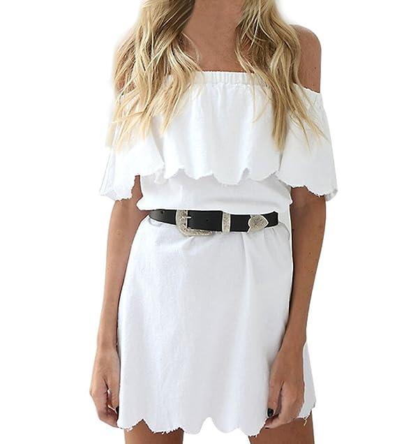0a3c3cb708 Mujer Vestidos Verano Elegantes Casual Vestidos Cortos Blanco Hombros Lindo  Chic Descubiertos Barco Cuello Moda Bonita Vestido Playa  Amazon.es  Ropa y  ...