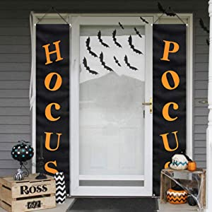 Halloween Decorations Outdoor - Hocus Pocus Porch Sign - Witch Décor Banners for Party Yard Wall Outside Door Classroom Office