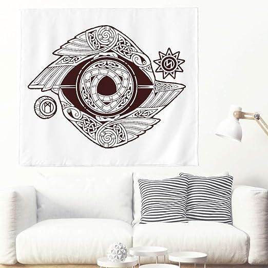 Tapiz de pared nórdico con diseño de runa Odin con sol, luna ...