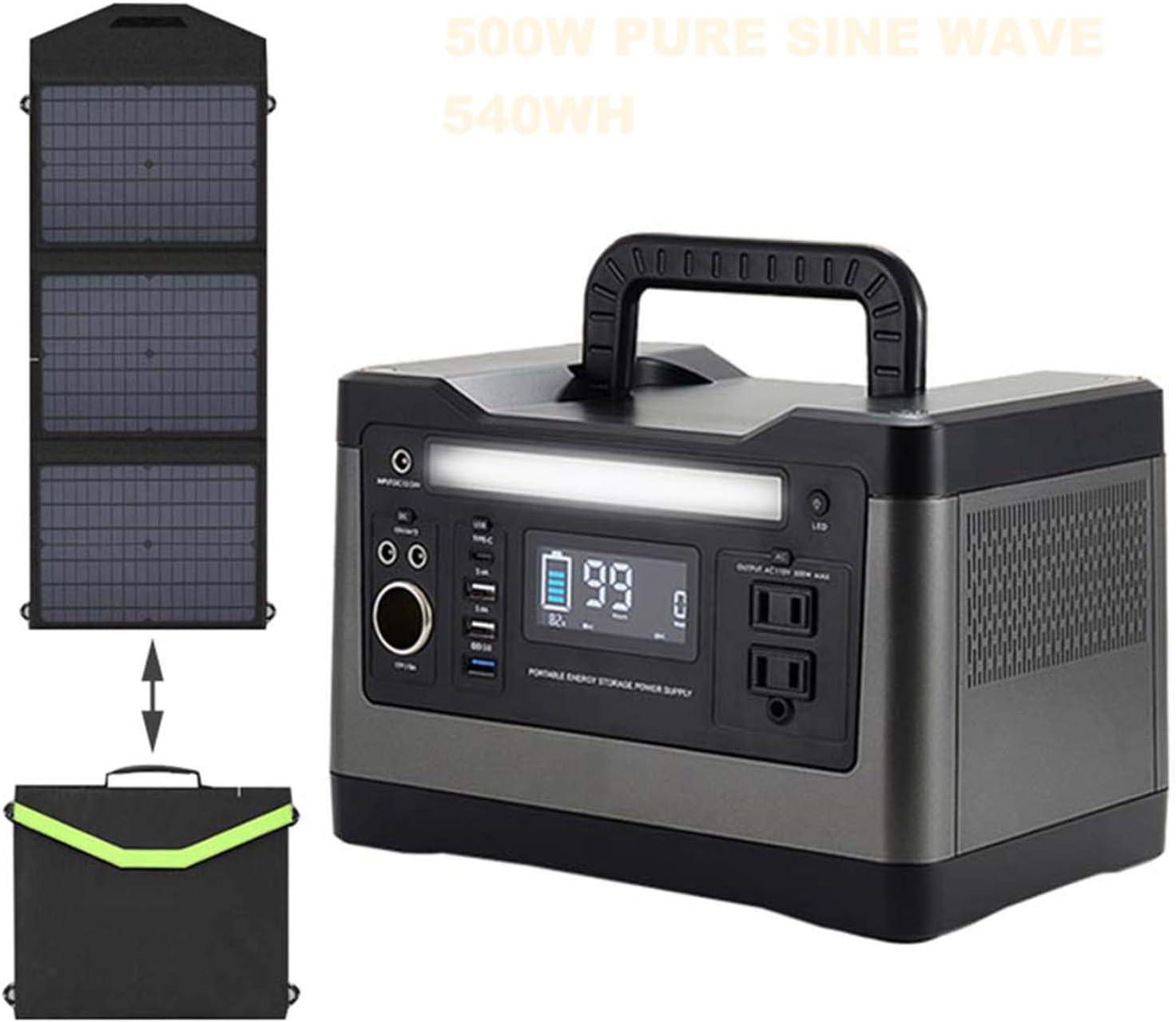 500W Generador Solar + 60W Panel Solar Energía De Almacenamiento De Energía Portátil Energía For Acampar Al Aire Libre Caja De Almacenamiento De ...