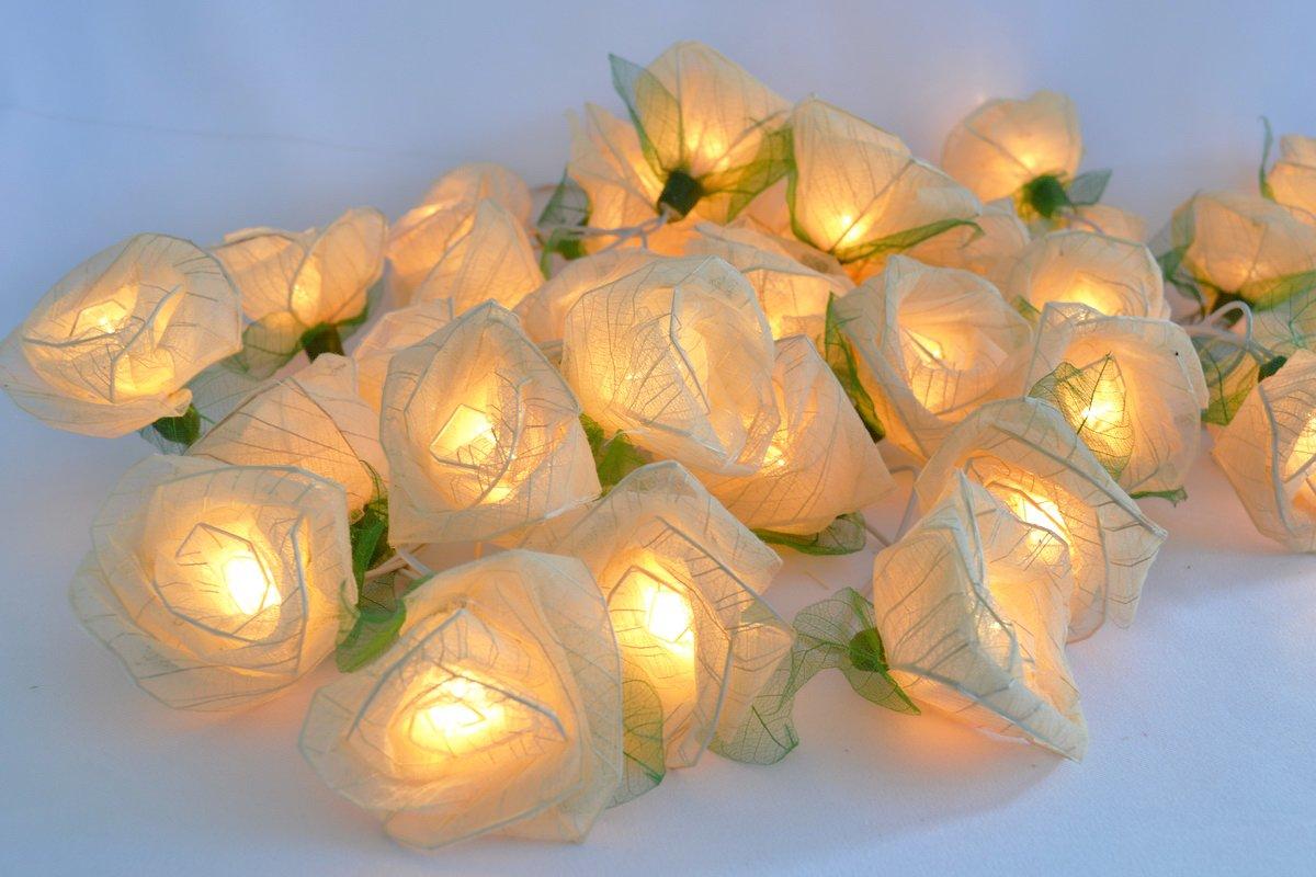 Amazoncom White Rose Flower Lights For Bedroom And Wedding - Flower string lights for bedroom