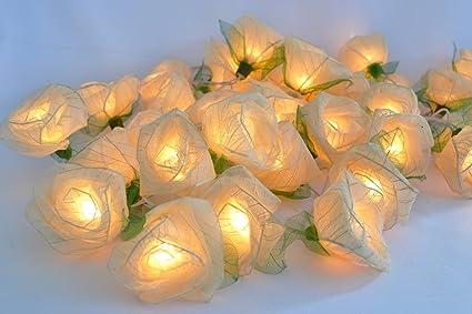 Ordinaire White Rose Flower Lights For Bedroom And Wedding String Lights Flower Lights  Indoor Patio (20
