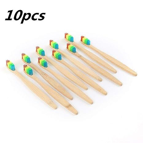 Cepillo de dientes ecológico con mango de bambú, color arco iris, suave para niños