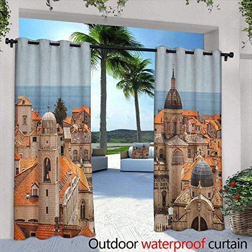 LOVEEO European Indoor/Outdoor Curtains Aerial View on The Old City of Dubrovnik Walls Medieval Croatia European View Grommet Curtains for Bedroom 72