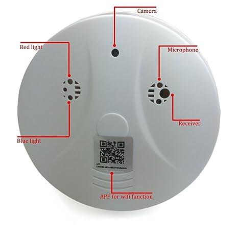 MUXAN Cámara Oculta con Detector de Humo con cámara Oculta de Nanny Spy CAM con 90 ángulos de visión y detección de Movimiento para Aplicaciones de ...