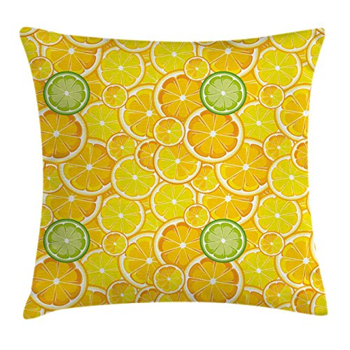 [Yellow Decor Throw Pillow Cushion Cover by Ambesonne, Lemon Orange Lime Citrus Round Cut Circles Big and Small Pattern, Decorative Square Accent Pillow Case, 24 X 24 Inches, Yellow White and Green] (Square Cut Lemon)