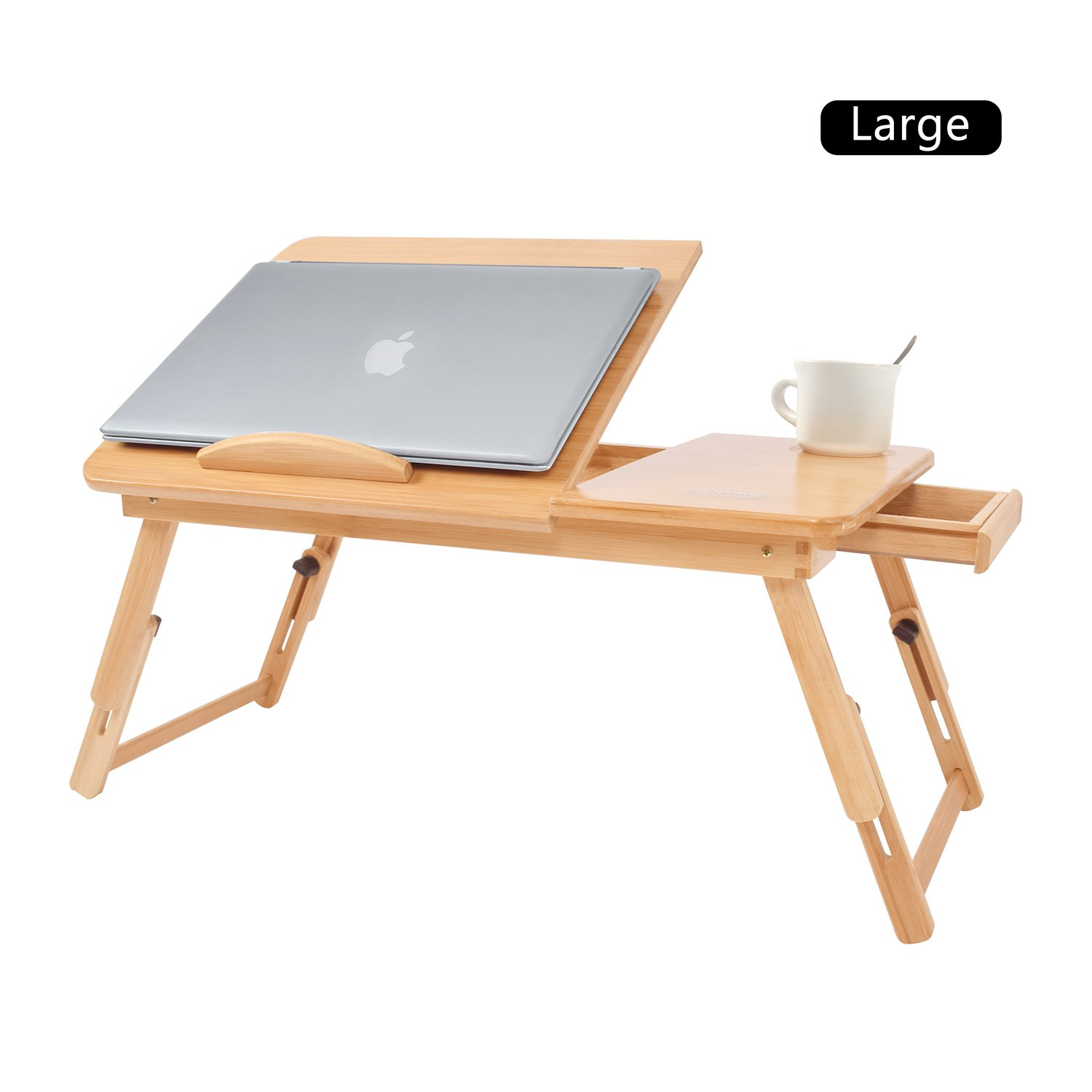 """aimu Portable Bamboo Foldable Laptop Desk Notebook Adjustable Height Tray Table Bed Table with Drawer Best for 17"""" Notebook (Large) JRSY DNZ0001"""