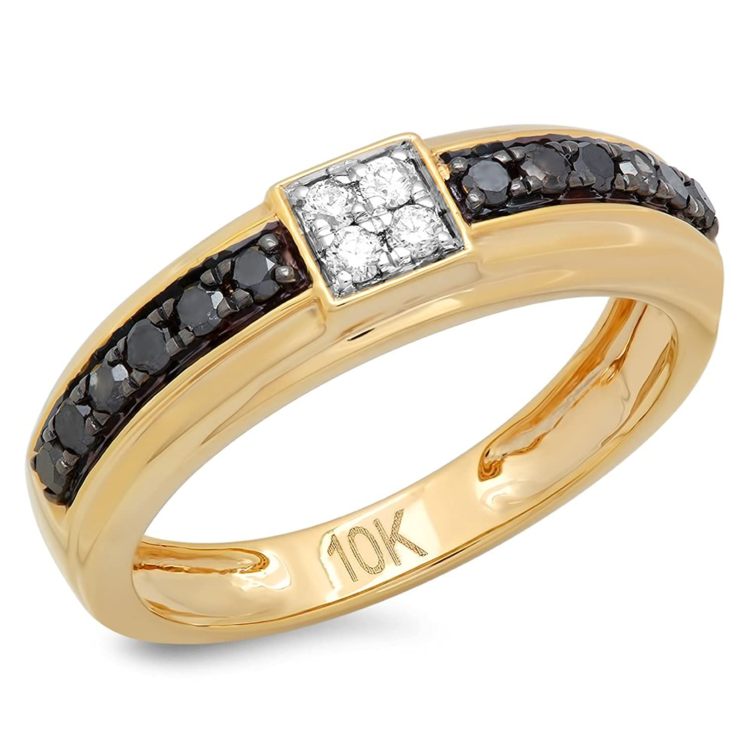 0.50 Carat (ctw) 10K Gold Round Black & White Diamond Men's Hip Hop Wedding Band 1/2 CT