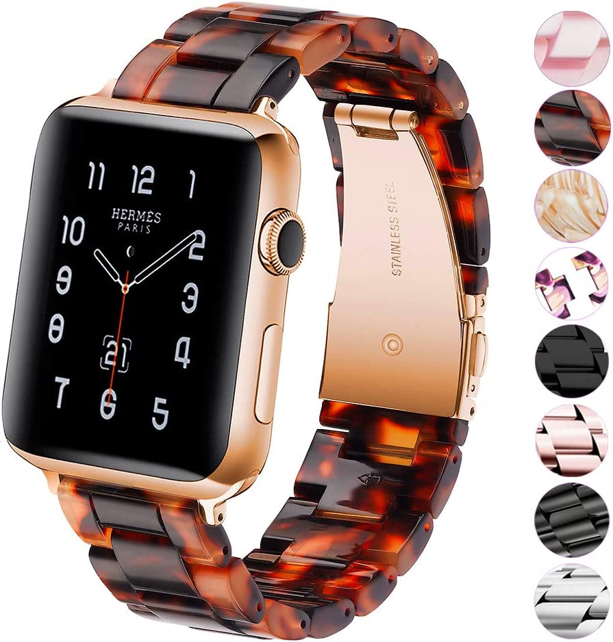LINKWOW Compatible with Apple Watch Band Twilight 38mm 40mm 42mm 44mm Ladies and Men Fashion Resin Watch Band with Stainless Steel Clasp Suitable for Apple Watch Series 5/4/3/2/1 Wristband Bracelet