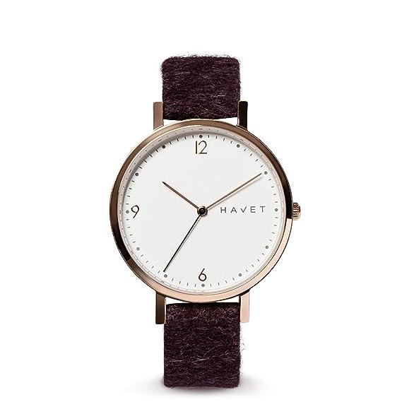 HAVET | Reloj de mujer Inari de acero color oro rosa y correa tejido burdeos: Amazon.es: Relojes