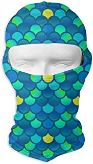 dfegyfr Cool Mermaid Fish Scales Balaclava UV Protection Windproof Ski Face Masks for Cycling Outdoor Sports Full Face Mask Breathable