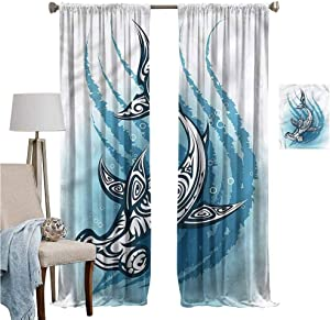 DRAGON VINES Insulated Solid Grommet topCurtains for Kitchen Shark W96 x L96,Hammerhead Fish Ornate Thermal Insulated Blackout CurtainsSet of 2 Panels