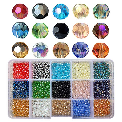 Chengmu 4mm Round Glass Beads for Jewelry Making 1500pcs AB Colour Faceted Shape Colourful Crystal Spacer Beads Assortments Supplies for Bracelets Necklaces with Elastic Cord Storage Box -
