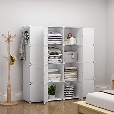 GEORGE&DANIS Portable Wardrobe Plastic Modular Closet Organization Customizable Cube Storage Organizer Bedroom Armoire Dresser, White, 16 Cubes