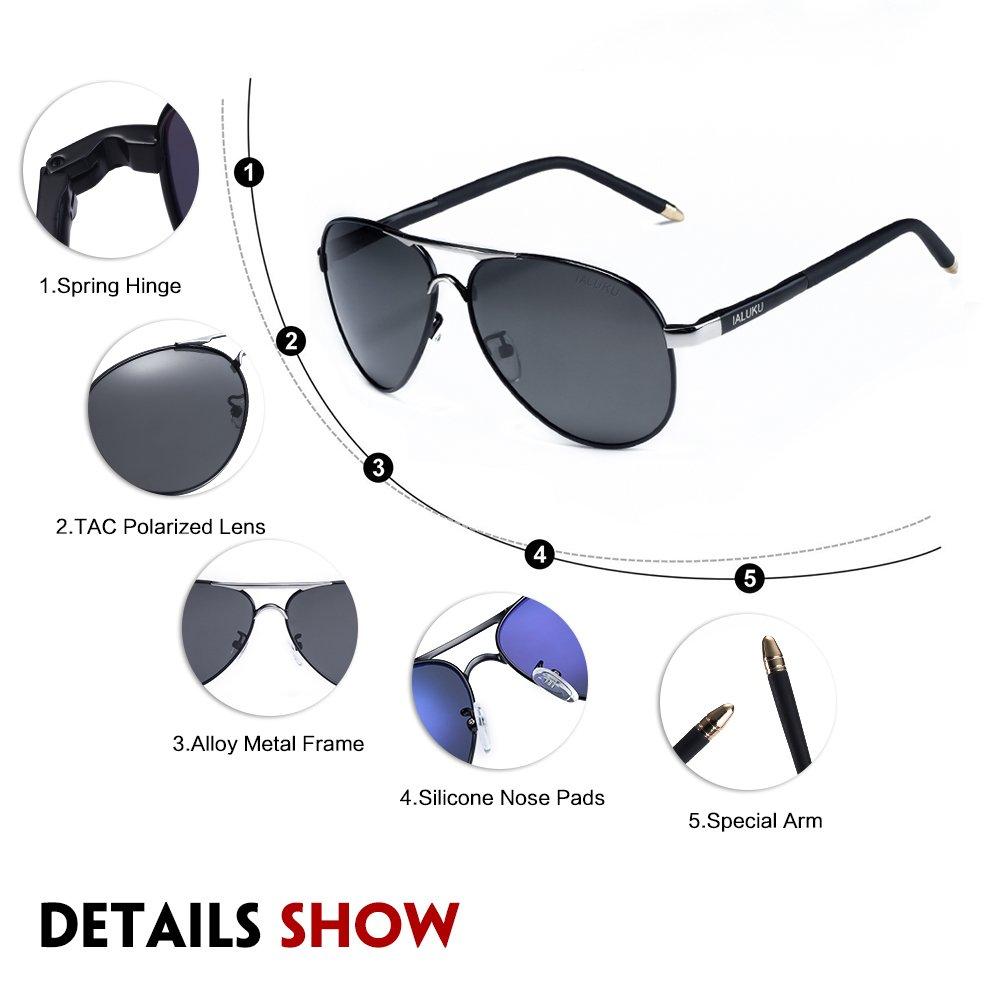 IALUKU Aviator Polarized Sunglasses Metal Frame Large 58mm Pilot Glasses for Men (Black / Grey, 58)