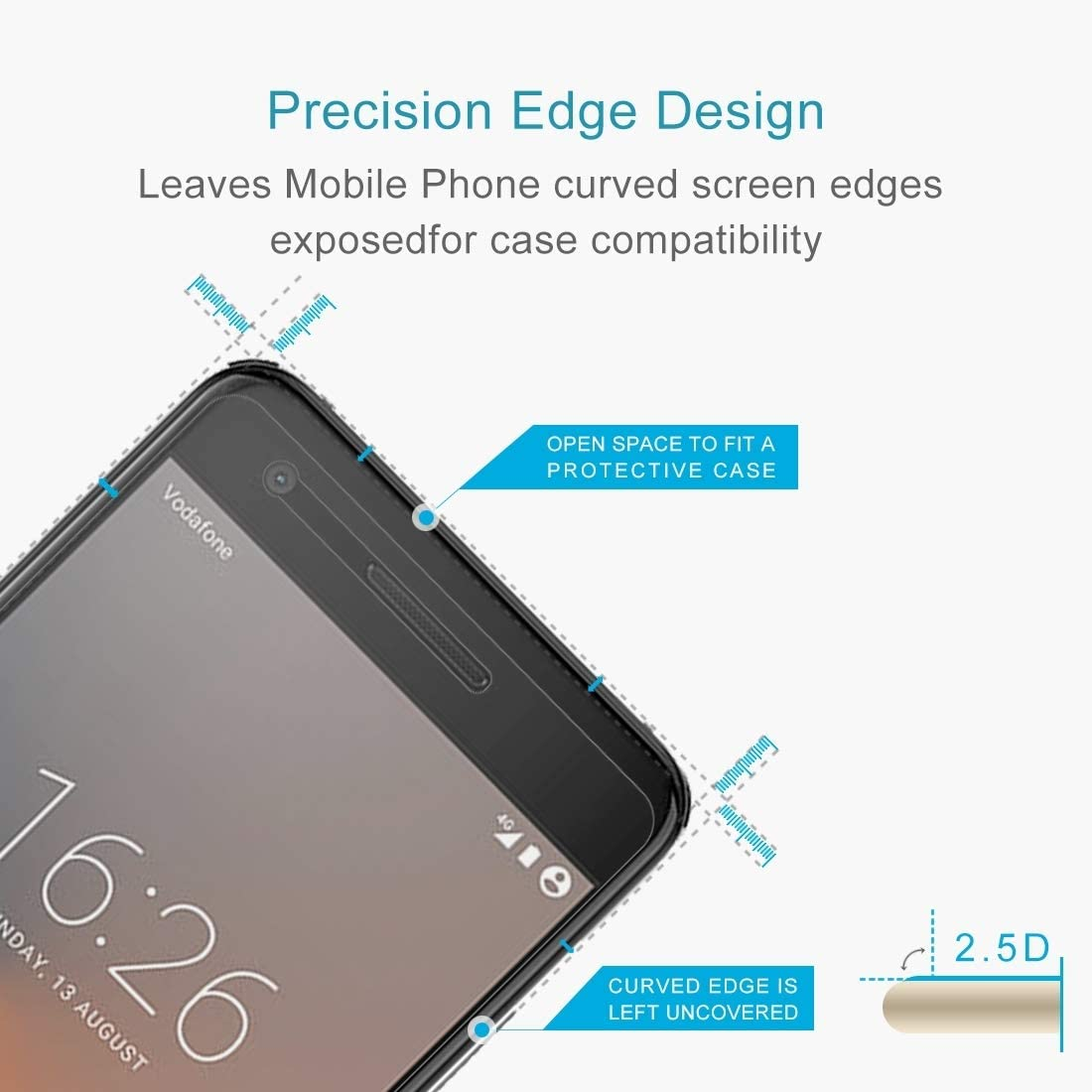 Lihuoxiu Phone Screen Protectors 100 PCS for Vodafone Smart V8 0.26mm 9H Surface Hardness 2.5D Curved Edge Tempered Glass Screen Protector