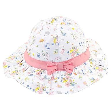 fa51c0e2c36f2 Snyemio Chapeau de Soleil Bébé Fille Bonnet en Coton Fleur Imprimée Anti UV  Eté pour Plage