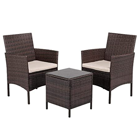 Topeakmart 3pcs Patio Furniture Set Outdoor Wicker Bistro Set Rattan Chair Conversation Sets with Coffee Table