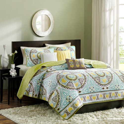 Madison Park 6 Piece Samara Coverlet Set, Full/Queen