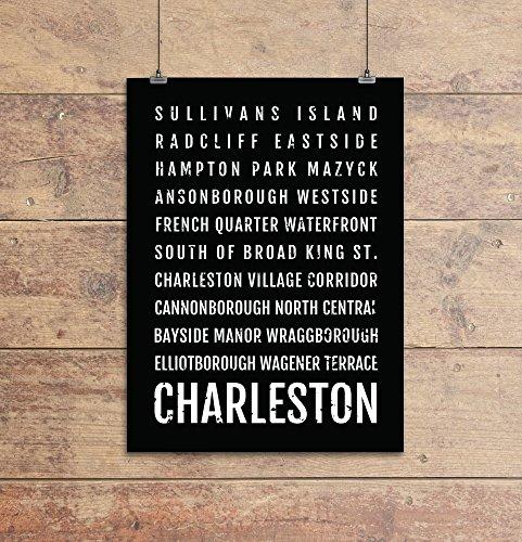 Charleston Print - Neighborhoods - Subway Sign Poster, Wall Art, Décor, Canvas, Word Map, Gift, Bus Scroll, Typography, Minimal, Custom, - Quarter French Charleston