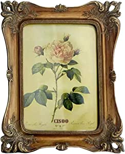 CISOO Vintage Picture Frame 5x7 Antique Photo Frame Table Top Display and Wall Hanging Home Decor (Bronze)