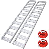 """Ruedamann 77"""" L x 13"""" W Aluminum Loading Ramp,Portable Loading Ramp for Lawn Tractors, Mowers,Motorcycles,Truck,ATVs etc,1500"""