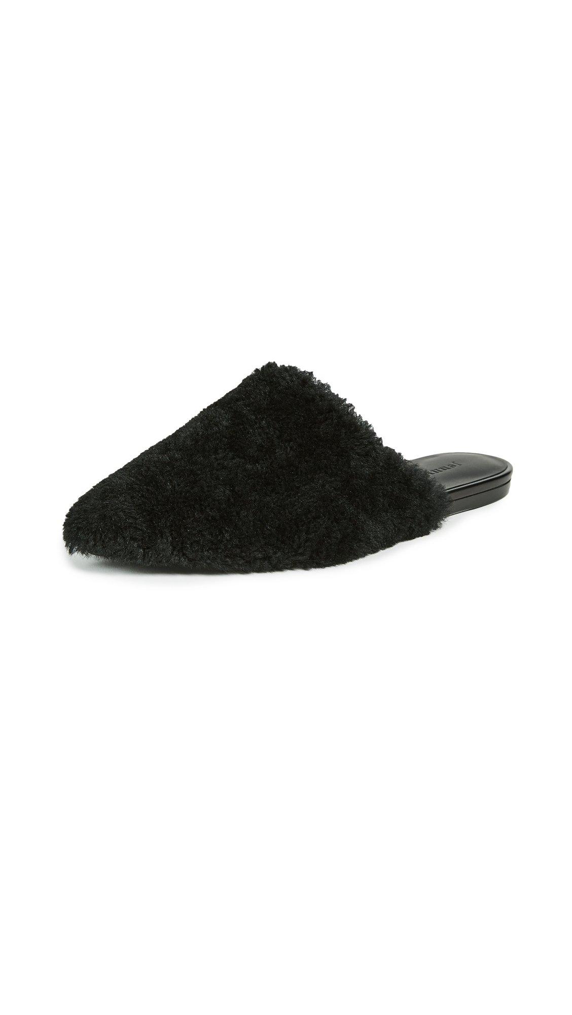 Jenni Kayne Women's Shearling Slippers, Black, 36 EU (6 B(M) US Women)