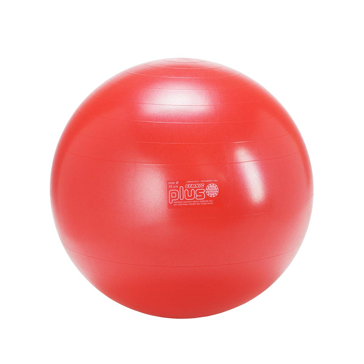 Gymnic Classic Plus Burst-Resistant Exercise Ball, Red 55 cm