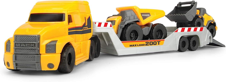 Dickie Toys Volvo Series - Camión Mack Truck de Volvo con Remolque y 2 Vehículos, para Niños a partir de 3 Años - 32 cm